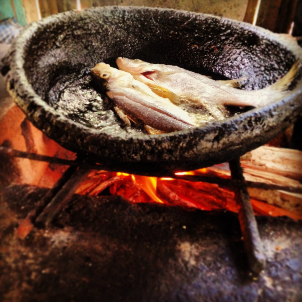 fish cooking over an open fire