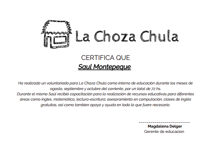Volunteering certificate at La Choza Chula