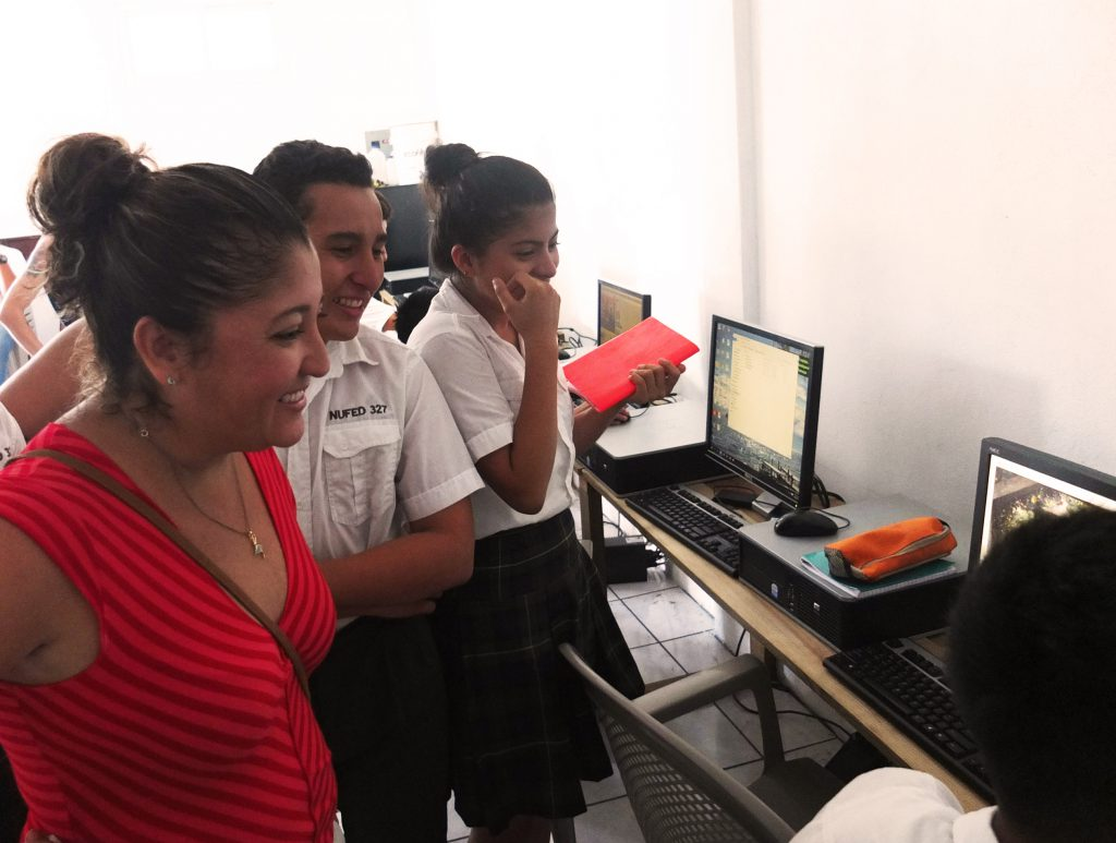 students show parents computers